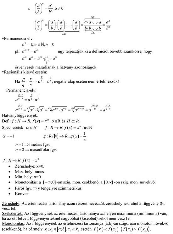 Hatványozás, hatványfüggvények